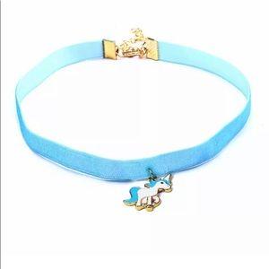 Blue velvet unicorn girls/kids choker necklace